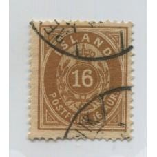 ISLANDIA 1876 Yv. 9A ESTAMPILLA DENTADO 14 x13 1/2 USADA 50 EUROS