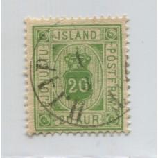 ISLANDIA 1876 Yv. SERVICIO 8 ESTAMPILLA USADA 35 EUROS