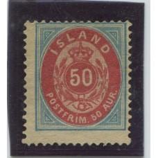 ISLANDIA 1882 Yv. 16A ESTAMPILLA DENTADO 14 x13 1/2 NUEVA SIN GOMA 80 EUROS ( USADA MARCA MAS )