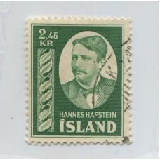 ISLANDIA 1954 Yv. 252 ESTAMPILLA FINAMENTE USADA 35 EUROS