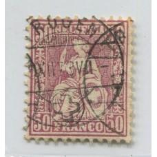 SUIZA 1867 Yv. 48 ESTAMPILLA USADA 50 EUROS