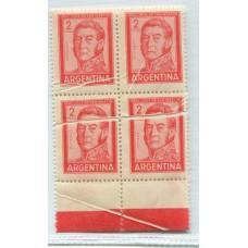 ARGENTINA 1959 GJ 1131 VARIEDAD MULTIPLES PLIEGUES SAN MARTIN