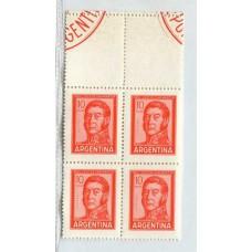 ARGENTINA 1965 GJ 1308CA VARIEDAD COMPLEMENTO CUADRO MINT U$ 16