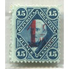 ARGENTINA 1884 GJ 74 SELLO PROVISORIO SOBRECARGA CARMIN MINT !!! PE. 49 U$ 30
