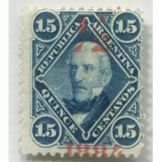 ARGENTINA 1884 GJ 72a SELLO PROVISORIO NUEVA VARIEDAD SOBRECARGA 1/2 ARRIBA U$ 50