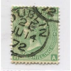 INGLATERRA 1867 Yv. 37 NUMERO DE PLANCHA 6 ESTAMPILLA USADA 30 EUROS