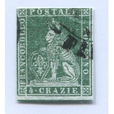 ITALIA ESTADO TOSCANA 1851 Yv. 6 ESTAMPILLA USADA 75 EUROS