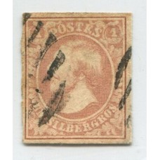LUXEMBURGO 1852 Yv. 2 ESTAMPILLA USADA 100 EUROS