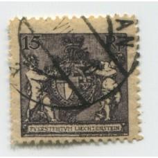 LIECHTENSTEIN 1921 Yv. 51A DENTADO 12 1/2 ESTAMPILLA USADA 40 EUROS