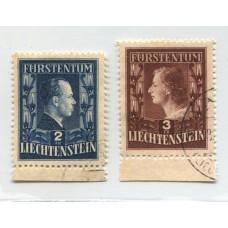 LIECHTENSTEIN 1951 Yv. 266/7 SERIE COMPLETA DE ESTAMPILLAS USADAS 155 EUROS