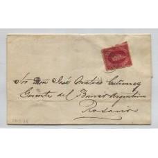 ARGENTINA 1866 GJ 26A RIVADAVIA CUBIERTA DE PLIEGO CIRCULADA A ROSARIO EL 23/9/1866, CON UNA ESTAMPILLA DE 5ta TIRADA CON VARIEDAD COLOR CARMIN MORADO U$ 270