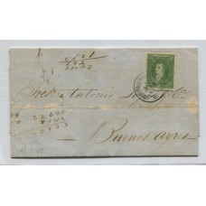 ARGENTINA 1864 GJ 23 RIVADAVIA PLIEGO COMPLETO CIRCULADO a Bs. As. EL 17/3/1865 CARTA CON UNA ESTAMPILLA DE 10 Cts. CON MATASELLO DE ROSARIO