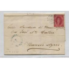 ARGENTINA 1866 GJ 26 RIVADAVIA CUBIERTA DE PLIEGO CIRCULADA a Bs. As. EL 5/5/1867, CON UNA ESTAMPILLA DE 5ta TIRADA CON DOS MATASELLOS DIFERENTES DE SANTA FE, MUY BONITA PIEZA U$ 170