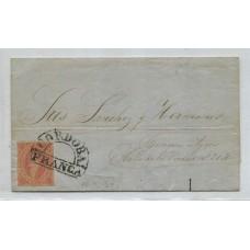 ARGENTINA 1864 GJ 19 RIVADAVIA CUBIERTA DE PLIEGO CIRCULADA EL 10/12/1864, CON UNA ESTAMPILLA DE 1ra TIRADA CON MATASELLO FRANCA DE CORDOBA, MUY BONITA PIEZA U$ 150