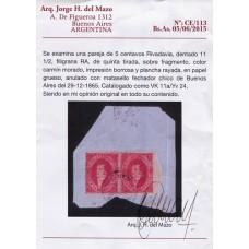 ARGENTINA 1866 GJ 26A RIVADAVIA DE 5ta TIRADA EN PAREJA SOBRE FRAGMENTO VARIEDAD PLANCHA RAYADA CON CERTIFICADO DE AUTENTICIDAD RARISIMA Y DE LUJO , NO ESTA CATALOGADA NI EN GJ NI EN KNEITSCHEL !!!