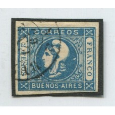 ARGENTINA 1862 GJ 22d CABECITA ESTAMPILLA CON FILIGRANA LACROIX FRERES, RARISIMO Y DE LUJO U$ 900