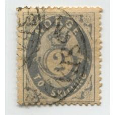 NORUEGA 1871 Yv. 17 ESTAMPILLA USADA 90 EUROS