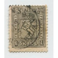 NORUEGA 1867 Yv. 11 ESTAMPILLA USADA 55 EUROS