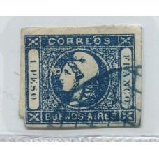 ARGENTINA 1859 GJ 17m ESTAMPILLA PAPEL TRANSPARENTE CON VARIEDAD MANCHA DELANTE DE LOS OJOS U$ 40
