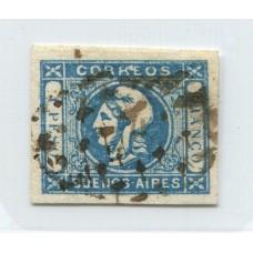 ARGENTINA 1859 GJ 17c ESTAMPILLA VARIEDAD 1 SIN PUNTO CON MATASELLO PUNTOS DE SAN NICOLAS HERMOSO EJEMPLAR U$ 40