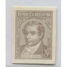 ARGENTINA 1942 GJ 870 PROCERES Y RIQUEZAS 1 ENSAYO EN COLOR SIMILAR AL ADOPTADO PAPEL SATINADO