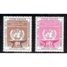 NACIONES UNIDAS 1954 Yv. 27/8 SERIE COMPLETA ESTAMPILLAS MINT TRABAJADORES