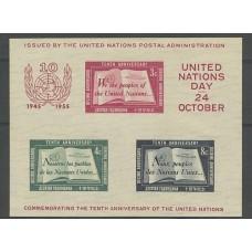 NACIONES UNIDAS 1955 EL RARO BLOQUE Nº 1 NUEVO MINT DE LUJO 280 Euros