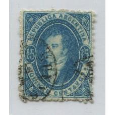 ARGENTINA 1864 GJ 24 RIVADAVIA 15 Cts. IMPRESIÓN SEMINITIDA MUY BONITA ESTAMPILLA