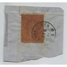 ARGENTINA 1865 GJ 20 RIVADAVIA ESTAMPILLA DE TERCERA TIRADA EN FRAGMENTO DOS PEQUEÑOS PINCHES MATASELLO 6-ABR-1865