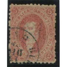 ARGENTINA 1864 GJ 19b RIVADAVIA ESTAMPILLA DE 1ra TIRADA CON VARIEDAD DOBLE IMPRESIÓN PARCIAL BIEN NOTABLE U$ 72