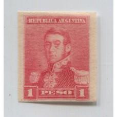 ARGENTINA 1892 GJ 148 ENSAYO EN PAPEL DELGADO CON FILIGRANA CRUZ DE MALTA, COLOR ROSA RARO