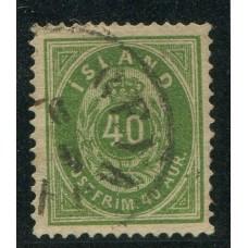 ISLANDIA 1876 Yv. 11 ESTAMPILLA USADA 200 EUROS