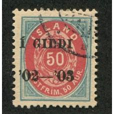 ISLANDIA 1902 Yv. 32A ESTAMPILLA USADA 65 EUROS