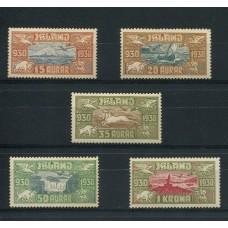 ISLANDIA AEREO 1930 Yv. 4/8 SERIE COMPLETA DE ESTAMPILLAS NUEVAS MINT CABALLOS AVIONES FAUNA 470 EUROS, RARA