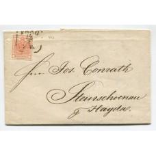 AUSTRIA 1853 YVERT 3 PLIEGO COMPLETO CON MATASELLO PRAGA CHECOSLOVAQUIA