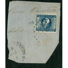 ARGENTINA 1859 GJ 17b CABECITAS CON DOBLE IMPRESIÓN PARCIAL ESTAMPILLA DE COLOR AZUL OSCURO SOBRE FRAGMENTO GRANDE, HERMOSO Y DE LUJO