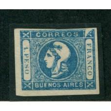 ARGENTINA 1859 GJ 17i CABECITA VARIEDAD ANGULO SUPERIOR DERECHO DEFECTUOSO ESTAMPILLA NUEVA, RARA U$ 80+