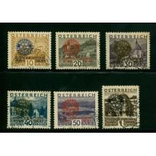 AUSTRIA 1931 SERIE COMPLETA Yv. 398A/F ROTARY USADA DE LUJO    510 Euros