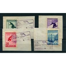 AUSTRIA 1936 SERIE COMPLETA YVERT 477/80  USADA MUY  RARA CON MATASELLOS ESPECIALES SOBRE FRAGMENTOS FIS SKY DEPORTES  160 EUROS