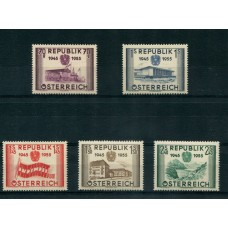 AUSTRIA 1955 SERIE COMPLETA YVERT 845/9 NUEVA MINT HERMOSA € 80