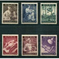 AUSTRIA 1954 SERIE COMPLETA YVERT 832/7 NUEVA MINT HERMOSA € 23