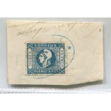 ARGENTINA 1859 GJ 14 PE 10 ESTAMPILLA SOBRE FRAGMENTO CON MATASELLO DE MENSAJERIA INICIADORES LUIS SAUCE Y Cia. , RARA Y DE LUJO $$$