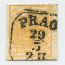 AUSTRIA 1850 YVERT 1 MAGNIFICO EJEMPLAR DE LUJO DE COLOR AMARILLO ANARANJADO CON MATASELLO PRAGA CHECOSLOVAKIA +135 EUROS