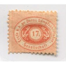 AUSTRIA COMPANIA DE NAVEGACION A VAPOR DEL DANUBIO 1866 Yv. 1 MUY BUEN EJEMPLAR 500 Euros