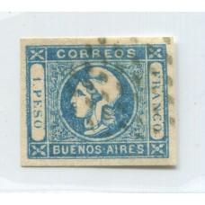 ARGENTINA 1859 GJ 17m ESTAMPILLA PAPEL DELGADO TRANSPARENTE CON SELLO DE GARANTIA DE VICTOR KNEITSCHEL U$ 40