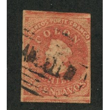 CHILE 1856 Yv. 5 ESTAMPILLA COLON IMPRESIÓN DE SANTIAGO