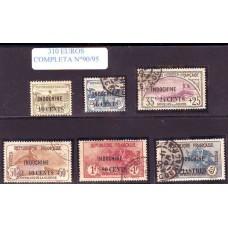 COLONIAS FRANCESAS INDOCHINA 1919 Yv. 90/5 SERIE COMPLETA DE ESTAMPILLAS USADAS, MUY RARA 310 EUROS