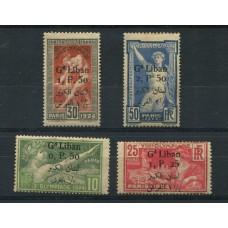 COLONIAS FRANCESAS LIBANO 1924 Yv. 45/8 SERIE COMPLETA DE ESTAMPILLAS NUEVAS CON GOMA OLIMPIADAS DEPORTES 140 EUROS RARA