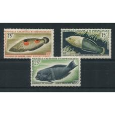 NUEVA CALEDONIA 1965 AEREO 81/3 SERIE COMPLETA MINT FAUNA MARINA PECES 22 EUROS