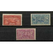 COLONIAS FRANCESAS St. PIERRE et MIQUELON 1930 Yv. 129/31 BARCOS SERIE COMPLETA DE ESTAMPILLAS NUEVAS CON GOMA 74 EUROS